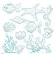 sea animals and plants vector image vector image