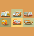 camper vans for travelling colorful collection vector image