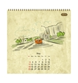 Calendar 2014 may Streets of the city sketch for vector image