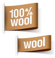 Wool product clothing labels vector image