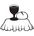 Chalice and bread vector image