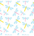 cute dragonfly seamless pattern spring insects vector image