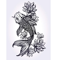 Hand drawn fish Koi carp with flowers vector image
