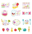Kids menu stickers set vector image