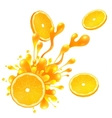 Orange slice with juice splash on white background vector image