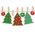patchwork with christmas tree hanging on a rope vector image