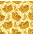 Seamless background bread in a basket vector image