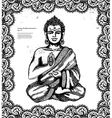 Vintage with Buddha in meditation vector image