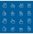 Hands art icons and gestures thin line signs vector image