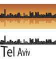 Tel Aviv skyline in orange background vector image vector image