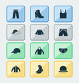 garment icons set collection of pants sweatshirt vector image