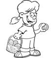 Cartoon Girl on an Easter Egg Hunt vector image