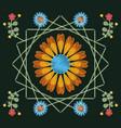 floral pattern over black background vector image