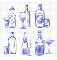 hand drawn popular drinks - ballpoint pen sketch vector image