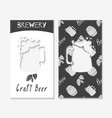 hand drawn silhouettes brewery business cards vector image
