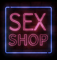 realistic isolated neon sign of pink sex shop vector image