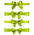 Satin green ribbons Gift bows vector image