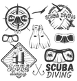 set of scuba diving center labels in vector image
