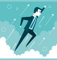 successful businessman flying in the sky success vector image