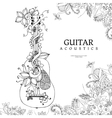 zentangl guitar with flowers vector image