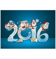 Cheerful elves ride salute with gifts vector image