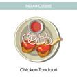 indian cuisine chicken tandoori traditional dish vector image