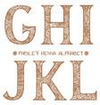 paisley henna alphabet ghijkl vector image
