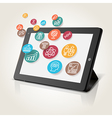 Tablet with icons vector image