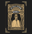 vintage design for labels suitable for whiskey or vector image vector image
