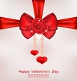 Greeting Card with Red Bow Rose Heart Pearls vector image