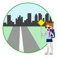 Young woman with backpack hitchhiking on roadside vector image