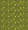 seamless pattern with swirls and leaves vector image