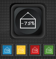 75 discount icon sign symbol Squared colourful vector image