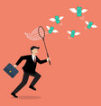 Businessman trying to catch money vector image