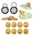 finance secure concept gold metal coins vector image