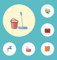 flat icons carpet vacuuming gauntlet mopping and vector image