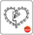 Metallic lock in form of heart vector image
