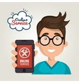 online service boy hold smartphone support vector image