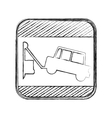 silhouette blurred road sign square with tow truck vector image