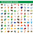 100 stadium icons set cartoon style vector image