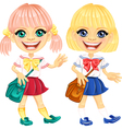 Smiling blonde cute schoolgirls vector image vector image