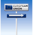 EU flag European union traffic board vector image