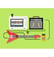 Learning guitar online vector image