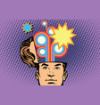 man with an open head festival fireworks carnival vector image
