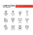 Photography line design icons set vector image