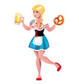 pretty blond girl with beer vector image