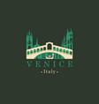 rialto bridge logo venice architectural landmark vector image