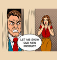 salesman breaking door comic book style vector image