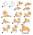 step instructions how to make origami a horse vector image