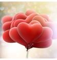 Hearts balloons on bokeh background EPS 10 vector image